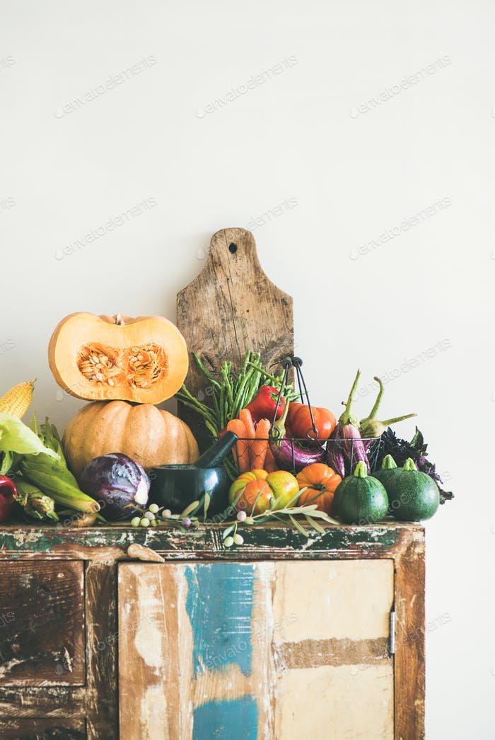 Fall seasonal vegetarian food ingredients variety, copy space, vertical composition