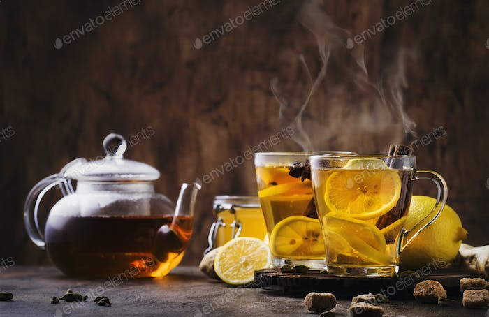 Winter or autumn hot healing tea with ginger