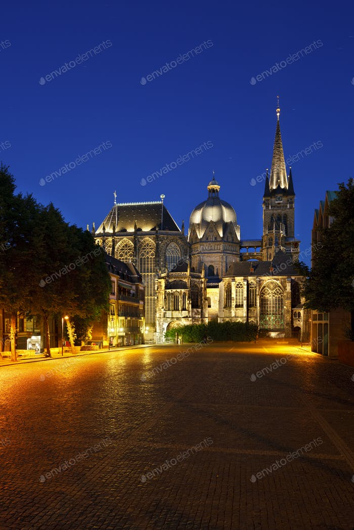 Aachen Cathedral At Night, Germany