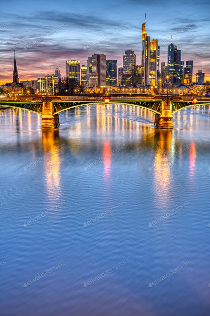 The river Main with the famous skyline of Frankfurt