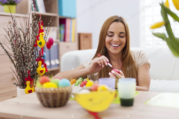 Beautiful woman while prepare for easter