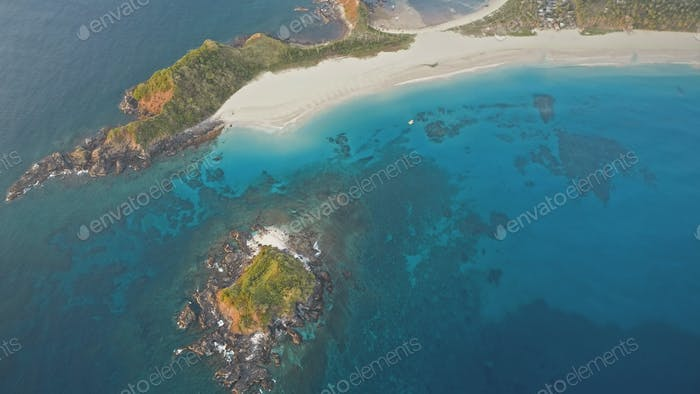 Mist over tropic island at sea bay aerial. Nobody tropical nature landcsape. Green mountains