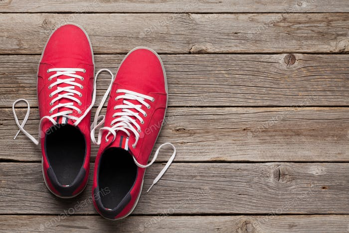 Pair of red sneakers