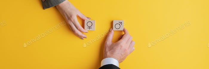 Male and female hand holding wooden blocks with male and female symbols