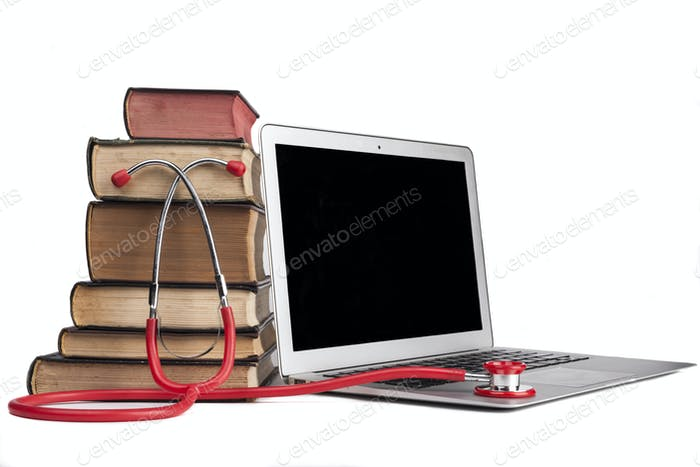 Red Stethoscope on Laptop