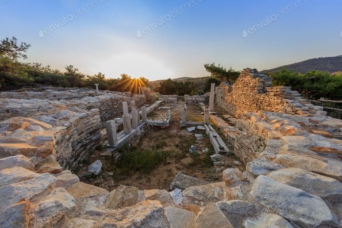 Ruins of ancient village in Archaeological site of Aliki. Thassos island, Greece