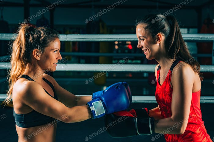 Women after boxing match