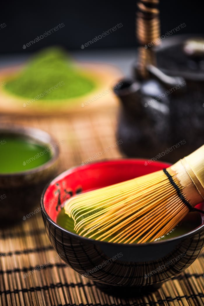 Making green Matcha tea ceremony