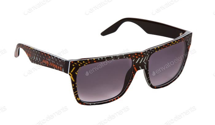 Black rimmed sunglasses with colorful confetti pieces