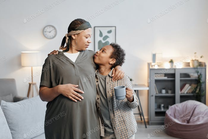 African American Mother with Teenage Son