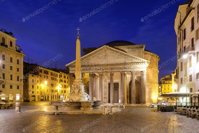 Scenic view of Pantheon in Rome at sunrise