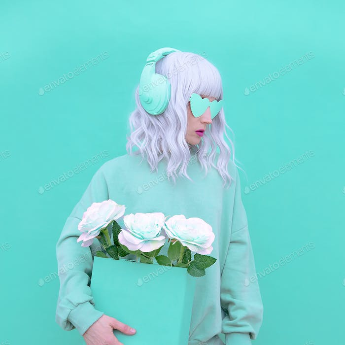 Fashion Dj Girl in Fresh Mint clothing. Minimal aesthetic monochrome design. Aqua menthe color trend