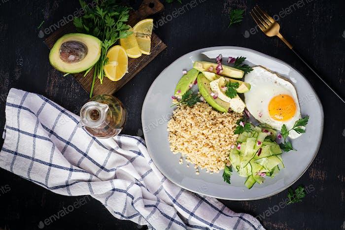 Diet menu. Healthy lifestyle. Bulgur porridge