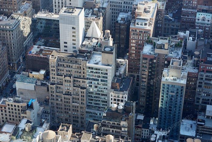 New York City Manhattan skyline aerial view with skyscrapers
