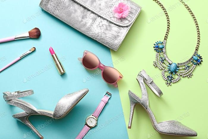 Fashion Design Woman Accessories Set. Minimal. Art