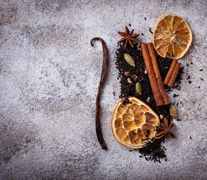 Dry black  tea with spice and orange