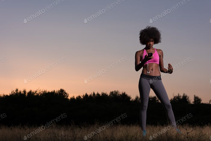 young african american woman in nature
