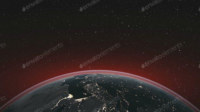 Earth orbit rotate planet skyline starry background