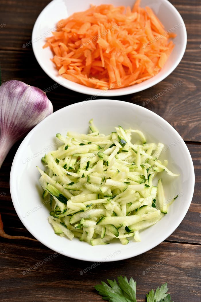 Grated zucchini and carrots.