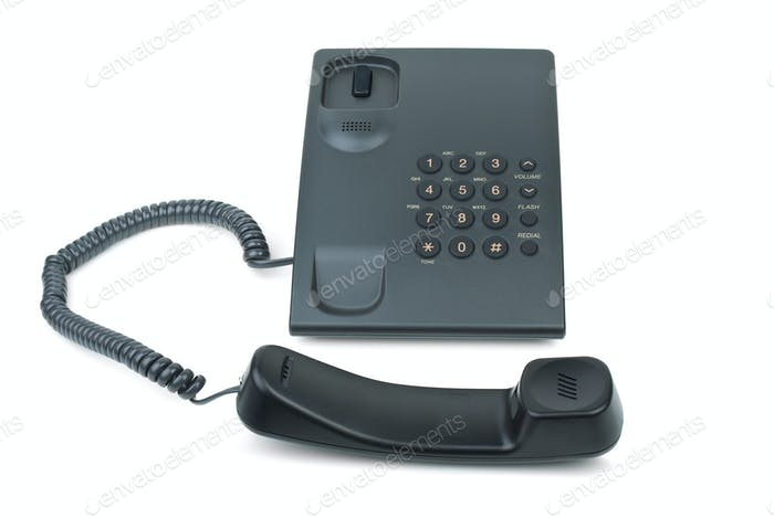 Black phone with handset near