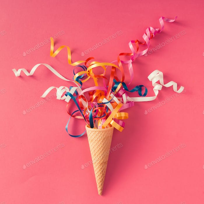 Ice cream cone with party streamers