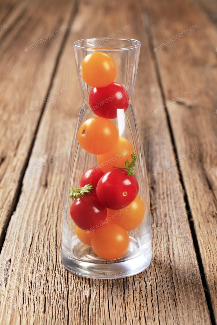 Cherry tomatoes in a carafe