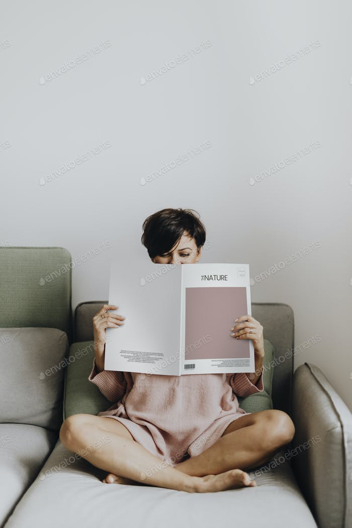 Woman reading a design magazine