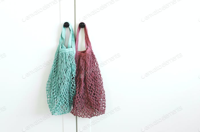 Reusable cotton bags, mesh bags. Zero Waste, eco friendly concept.