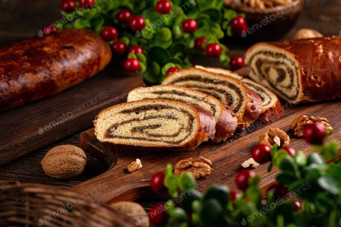Home baked walnut roll