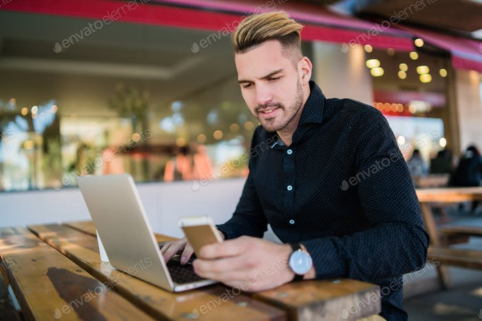 Businessman working on his laptop.