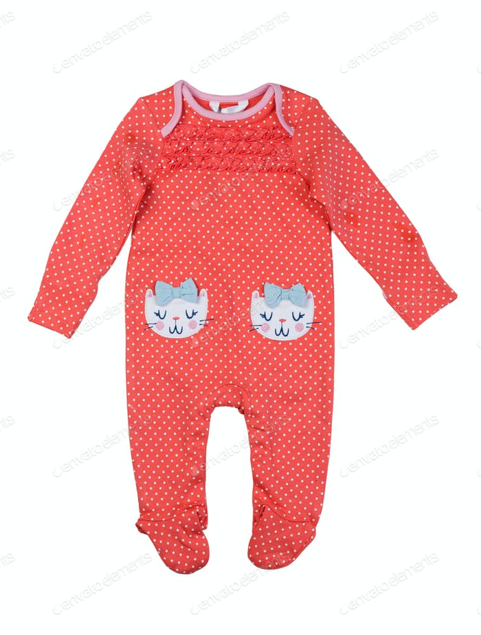 Orange rompers patterned cat.