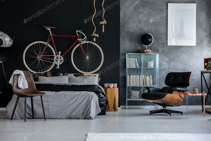Bedroom with bicycle