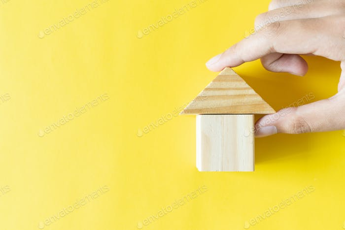 Wood house block for real estate property industry