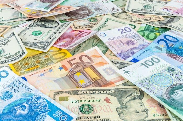 Dollar, Euro und polnischer Zloty Geldhintergrund
