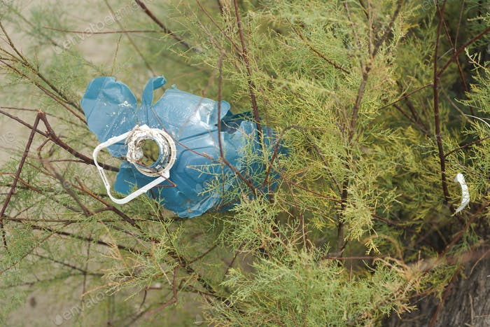 Plastic trash stranded on a Mediterranean beach