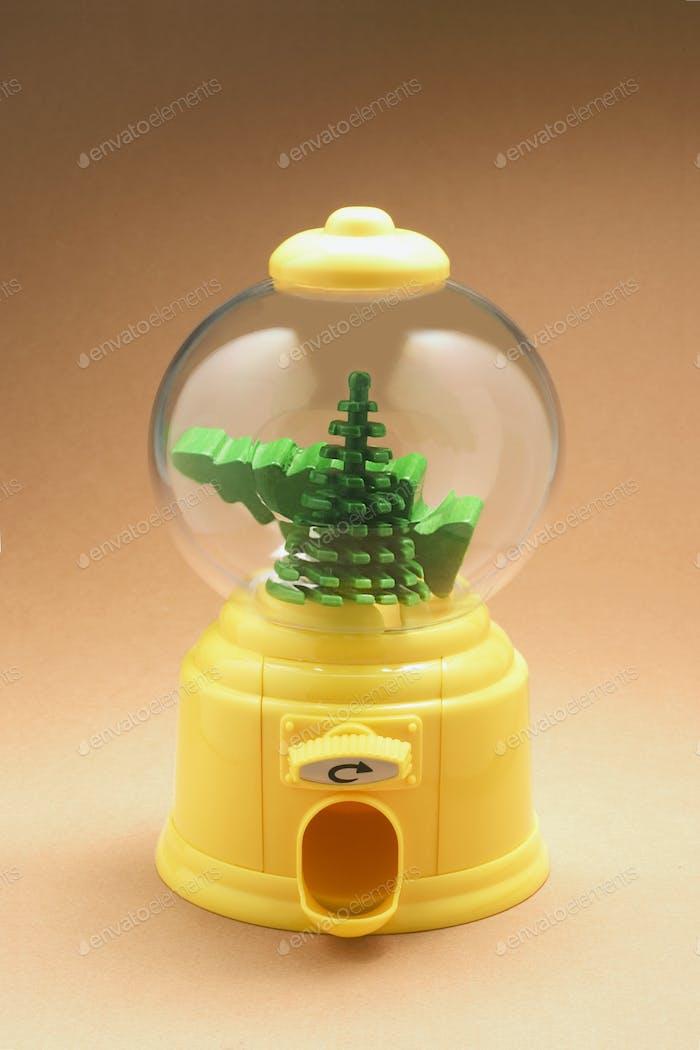 Miniature Xmas Trees in Bubblegum Machine