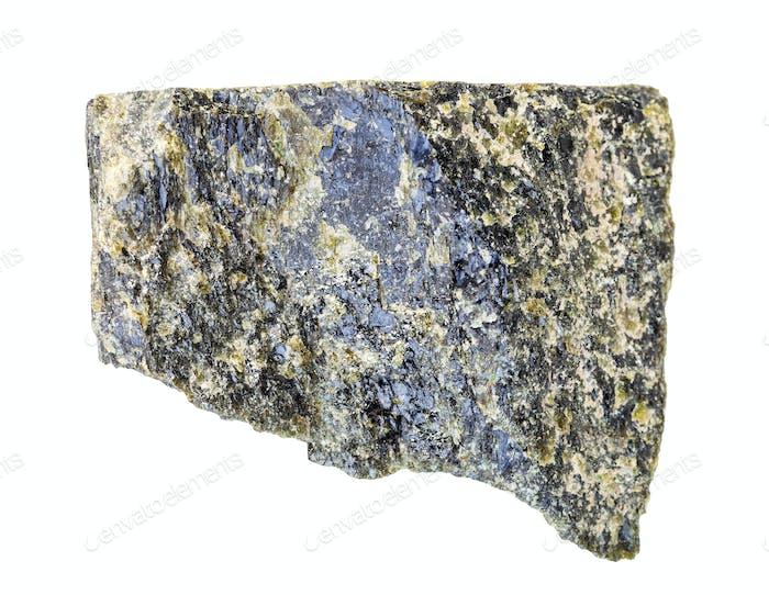 unpolished Epidote rock isolated on white