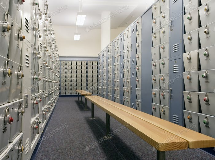 Benches and lockers in locker room