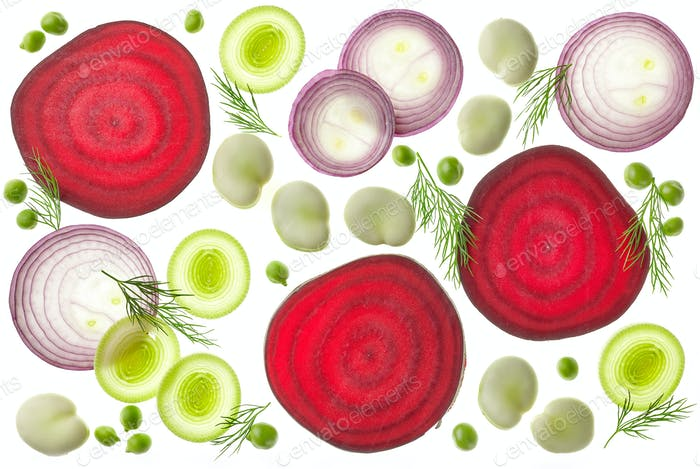 Zusammensetzung von verschiedenen geschnittenen Gemüse