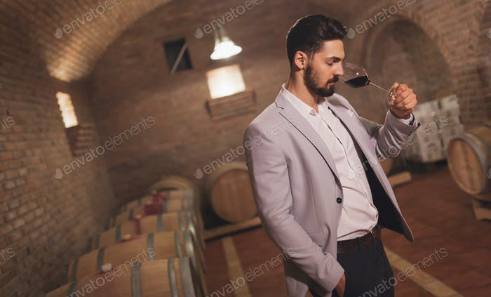 Oenologist tasting wines in cellar