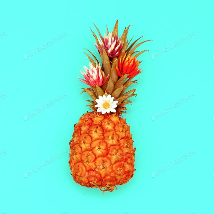 Pineapple and flowers. Tropical cocktail. Minimal style