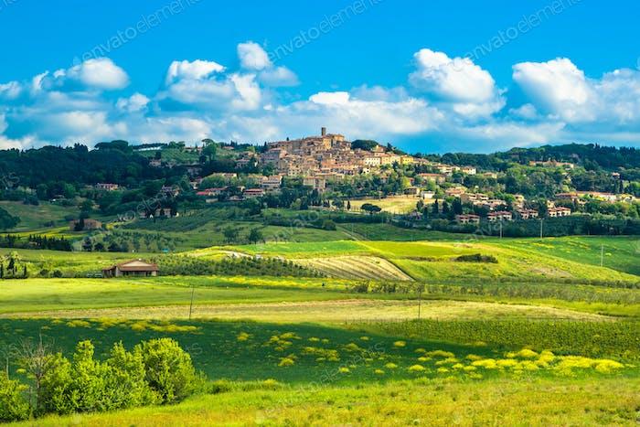 Casale Marittimo old stone village in Maremma. Tuscany, Italy.