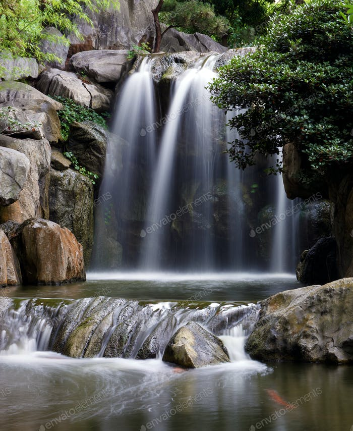 Chinese gardens waterfall