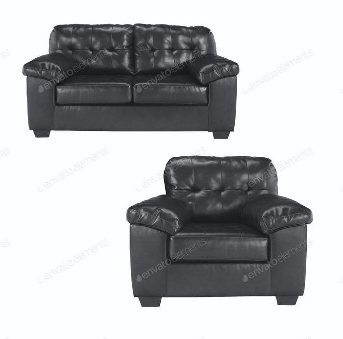 Black sofa with chair isolated