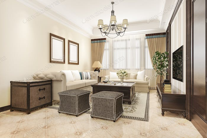 3d rendering luxury and classic living room with american vintage style