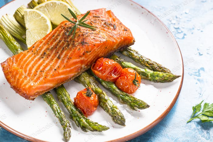 Grilled salmon fish fillet with asparagus