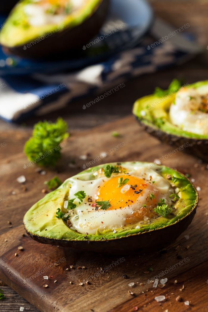 Homemade Organic Egg Baked in Avocado