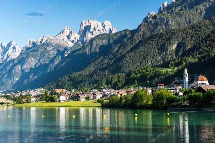 Beautiful mountain village landscape of Villapiccola and Lake Au