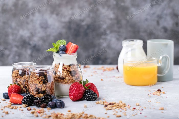 Homemade granola breakfast