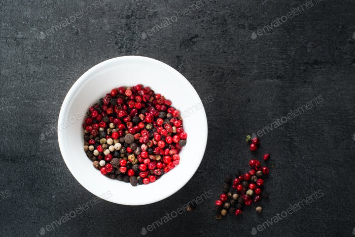 Peppercorns mixed in bawl
